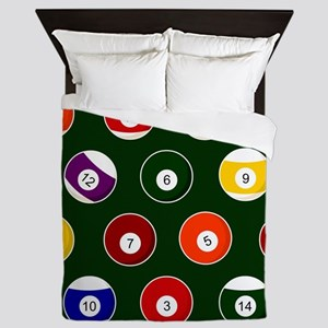 Green Pool Ball Billiards Pattern Queen Duvet