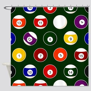 Green Pool Ball Billiards Pattern Shower Curtain