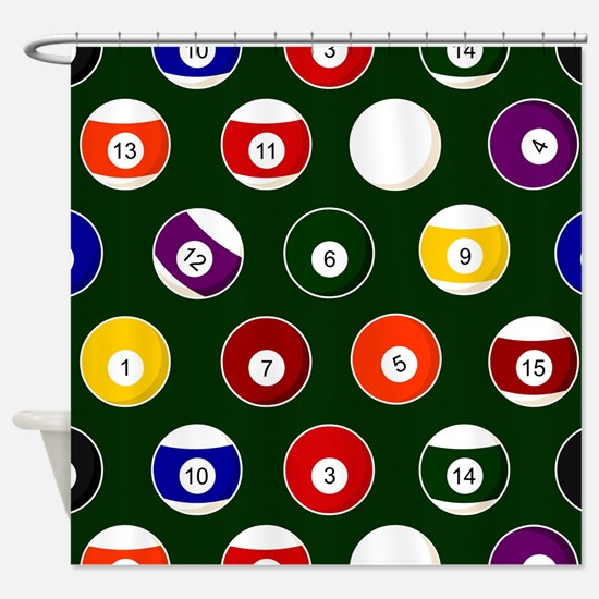 Green Pool Ball Billiards Pattern Shower Curtain