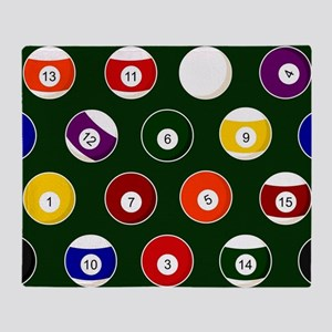Green Pool Ball Billiards Pattern Throw Blanket