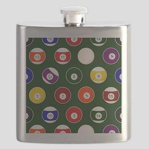 Green Pool Ball Billiards Pattern Flask