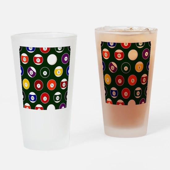 Green Pool Ball Billiards Pattern Drinking Glass