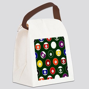 Green Pool Ball Billiards Pattern Canvas Lunch Bag