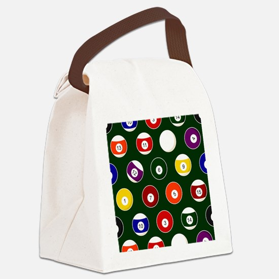 Green Pool Ball Billiards Pattern Canvas Lunch Bag