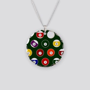 Green Pool Ball Billiards Pattern Necklace