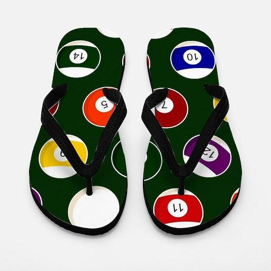 Green Pool Ball Billiards Pattern Flip Flops