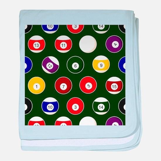 Green Pool Ball Billiards Pattern baby blanket