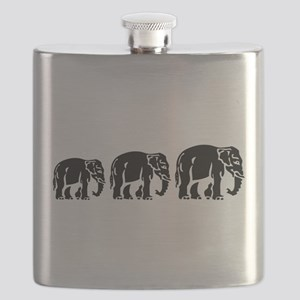 Chang Chang Chang ~ Asian Elephants Crossing Flask