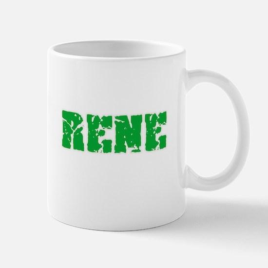 Rene Name Weathered Green Design Mugs