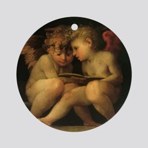 Cherubs Reading by Fiorentino Round Ornament