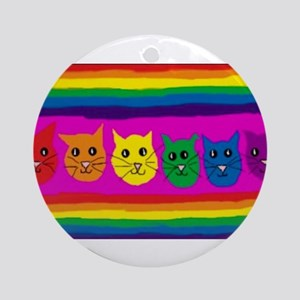 Gay rainbow cats Round Ornament