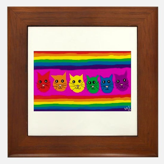 Gay rainbow cats Framed Tile