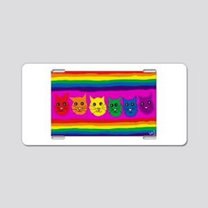 Gay rainbow cats Aluminum License Plate