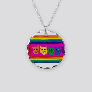 Gay rainbow cats Necklace Circle Charm