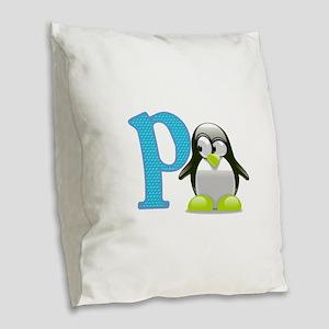 P is for Penguin Burlap Throw Pillow