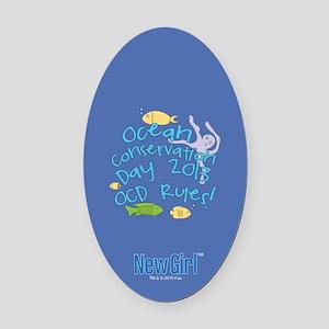 New Girl OCD Oval Car Magnet