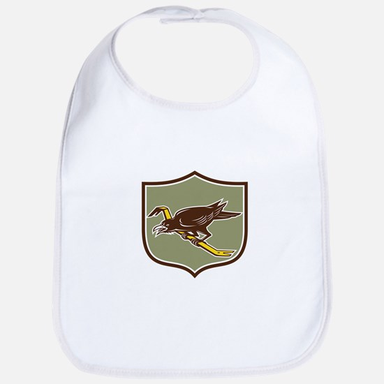 Crow Perching Crowbar Crest Retro Bib