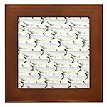 Blue Catfish Pattern Framed Tile