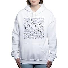Blue Catfish Pattern Women's Hooded Sweatshirt