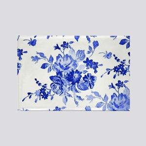 Vintage blue and white floral pat Rectangle Magnet