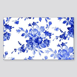 Vintage blue and white floral  Sticker (Rectangle)