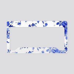 Vintage blue and white floral License Plate Holder