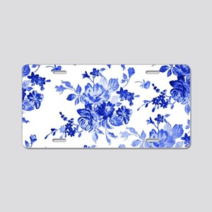 Vintage blue and white flor Aluminum License Plate