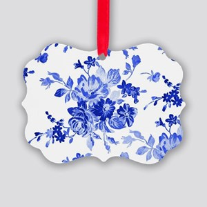 Vintage blue and white floral pat Picture Ornament