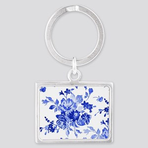 Vintage blue and white floral p Landscape Keychain