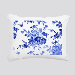 Vintage blue and white f Rectangular Canvas Pillow