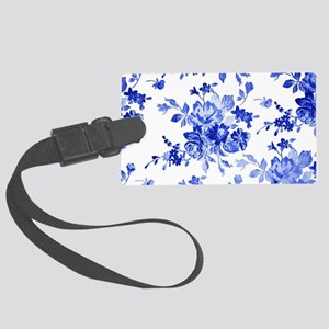 Vintage blue and white floral pa Large Luggage Tag
