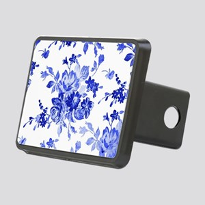Vintage blue and white flo Rectangular Hitch Cover