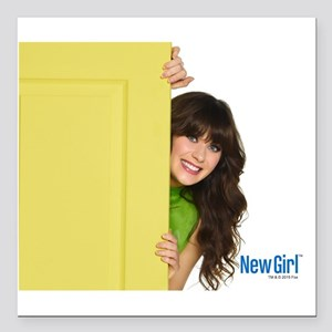 """New Girl Life is Better Square Car Magnet 3"""" x 3"""""""