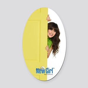 New Girl Life is Better Oval Car Magnet