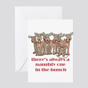Naughty Reindeer Greeting Card
