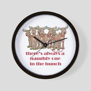 Naughty Reindeer Wall Clock
