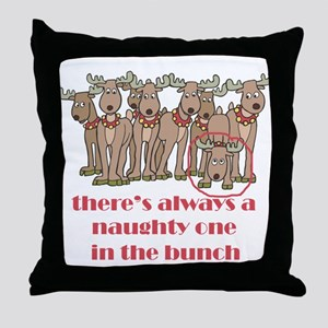 Naughty Reindeer Throw Pillow
