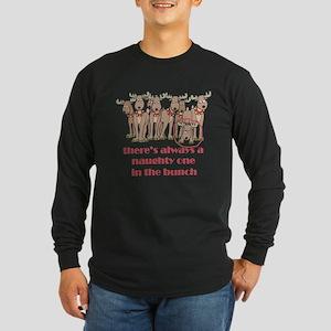 Naughty Reindeer Long Sleeve Dark T-Shirt