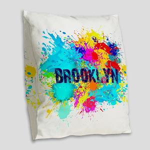 BROOKLUN NY SPLASH Burlap Throw Pillow