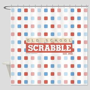 Old School Scrabble Shower Curtain