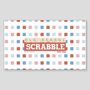 Old School Scrabble Sticker (Rectangle)