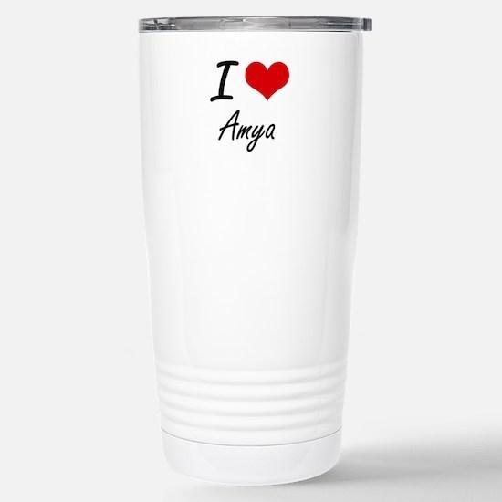 I Love Amya artistic de Stainless Steel Travel Mug