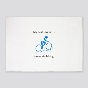 Best Day Mountain Biking Gifts 5'x7'Area Rug