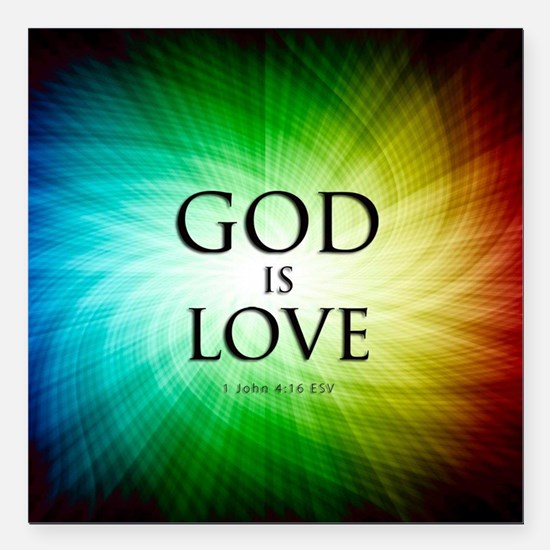 "Love Is God Square Car Magnet 3"" x 3"""