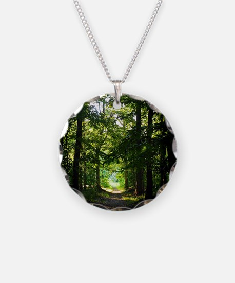 Forest Path Necklace Circle Charm