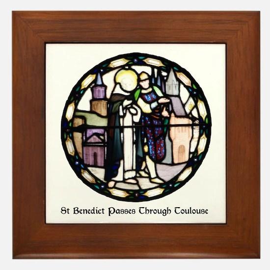 Cute St benedict Framed Tile