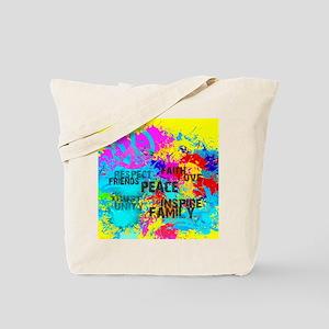 Splash Words of Good Yellow Peace Tote Bag