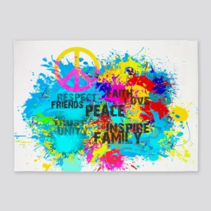 Splash Words of Good Peace 5'x7'Area Rug