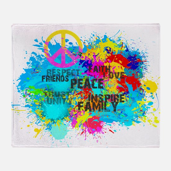 Splash Words of Good Peace Throw Blanket