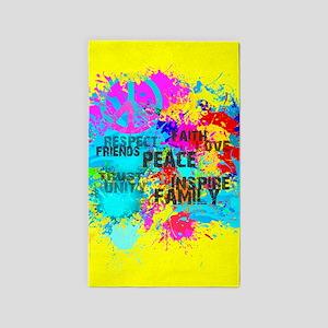 Splash Words of Good Yellow Peace Area Rug